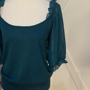 Dark teal billowy sleeve top